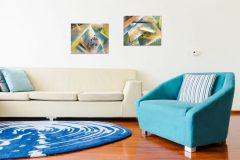 toile abstraite bleu jaune
