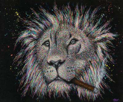 Tableau Gringo, impression sur plaque alluminium, tableau lion coloré contemporain