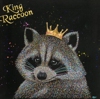 Tableau King Raccoon, impression sur aluminium, tableau raton-laveur coloré contemporain
