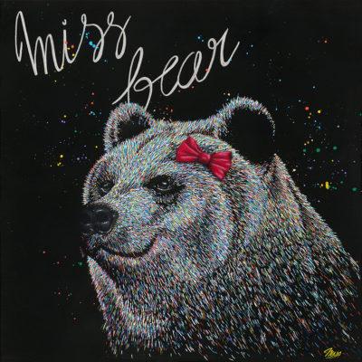 Tableau Miss Bear, impression sur aluminium, tableau ours coloré contemporain
